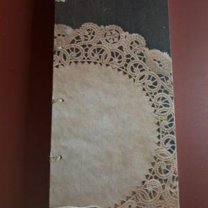 Libreta cosida y encuadernada a mano, papel modelo blonda