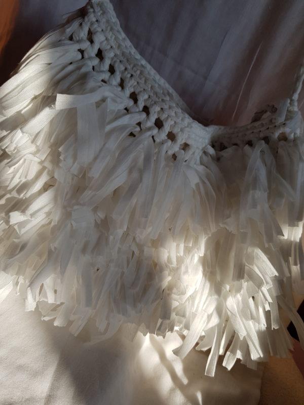 Bolsa de hilo de algodón con flecos, forrada con tela de loneta