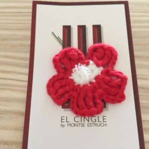 Flor de crochet roja y blanca pin, club de futbol Girona