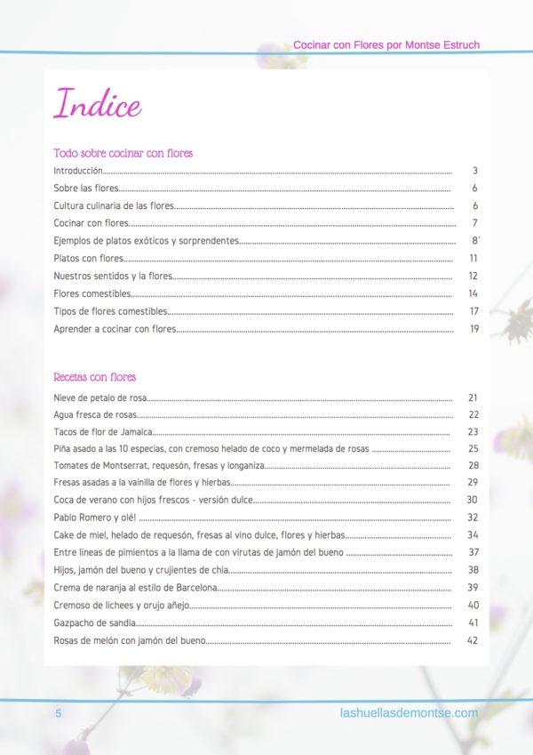 Cocinar con pétalos de flores por Montse Estruch indice